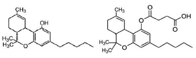 Figure 2: Δ-9-THC (left) and Δ-9-THC-HS (right) structure comparison