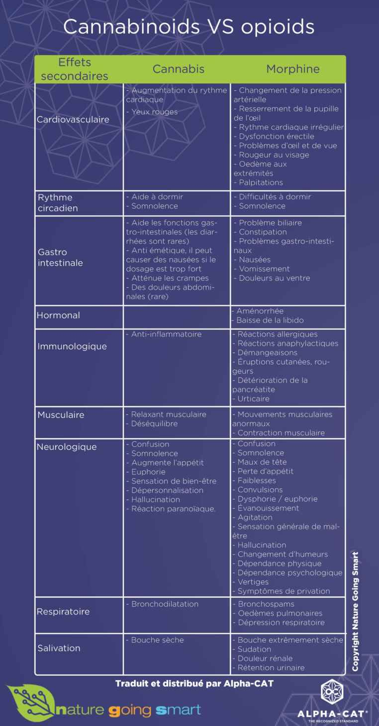 Cannabinoids VS opioids - comparison chart - Nature Going Smart