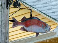 Fish art in the streets of Lunenburg, Nova Scotia.