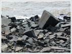 Boulders used for protection against erosion by the sea at Annapolis Royal