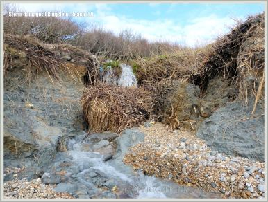 Storm damage to cliff edge near a stream at Ringstead Bay