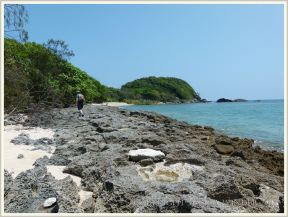 View of cay sandstone with eroded rock pools on the beach at Normanby Island.