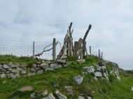 A driftwood stile at Mewslade