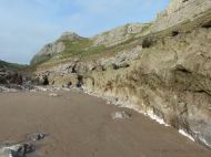 Sand returning to Mewslade beach in May after it had been washed away in the winter months.