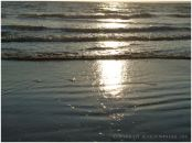 Sun reflections as high tide approaches tide at Rhossili Beach