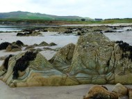 Striped rocky mudstone outcrops on the beach