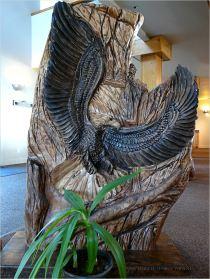 Carved wooden eagle at Overleaf Lodge, Yachats, Oregon.