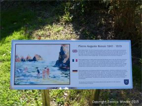 Sign about the Renoir painting of Moulin Huet Bay in Guernsey