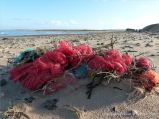 Tangled heap of red fishing nets washed ashore