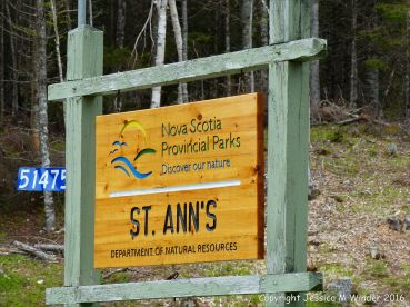 Roadside sign for St Ann's Provincial Park