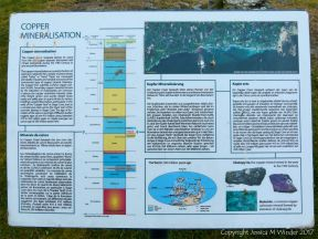 Sign board in Bunmahon about copper found in local rocks