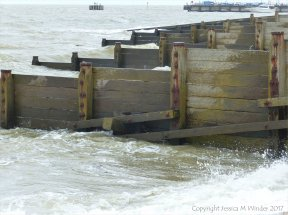 Wooden breakwaters or groynes at Whitstable