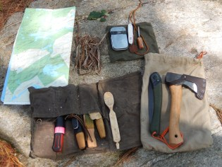 Carving Tool Roll, Map and Fire Kit