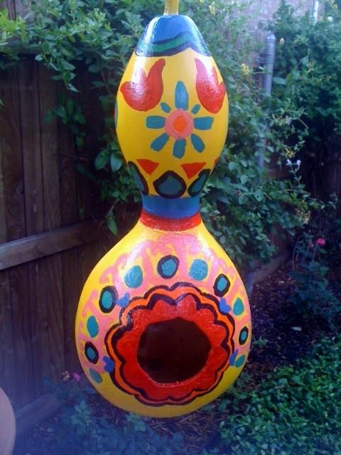 Birdhouse Gourd Painted Talavera Style