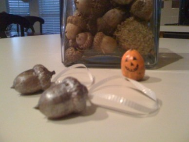 SIlver Spray Painted and Mini Jack-o-Lantern Acorns