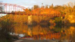 Fair Oaks Bridge, reflection, red bridge, American River, mornings, water, nature, outdoors, journal, beauty,