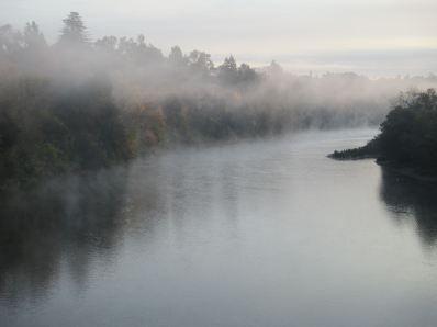American River, Fair Oaks Bridge, mist, morning, chilly,