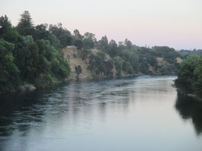 American River, Fair Oaks Bridge, evening, shadows, twilight, water reflection