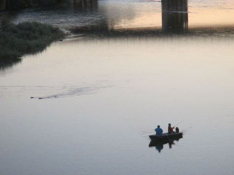 boater, fisherman, fishing boat, American River, Fair Oaks, Fair Oaks Bridge, salmon, shadows, sunset, darkness, river, ducks, swimming