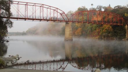 Fair Oaks Bridge, mist, morning, nature, American River, outdoors, writing, beauty, peaceful