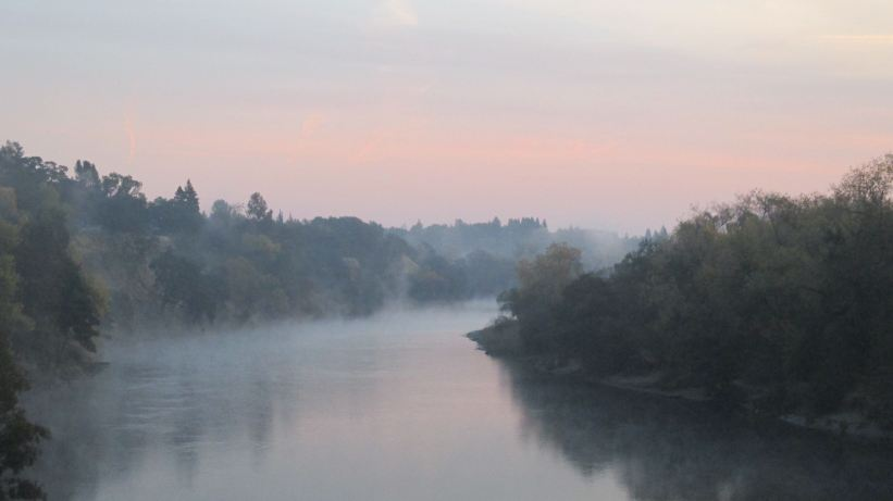Fair Oaks Bridge, mornings, American River, sunrise, nature, outdoors, morning mist, fog,