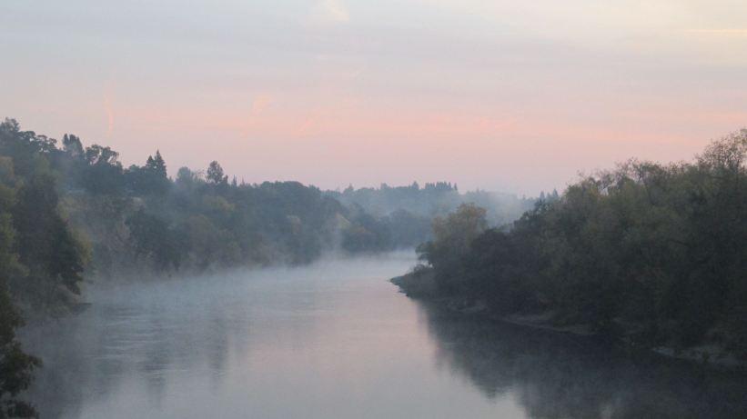 Fair Oaks Bridge, mornings, American River, sunrise, nature, outdoors, morning mist, fog,