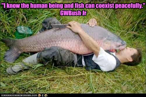The human being and the fish can co-exist