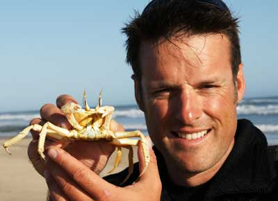 Nick Baker and a crab