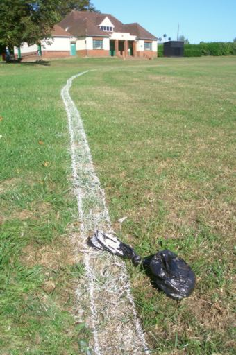 Bag of dog poo on a cricket pitch (c) Cat James