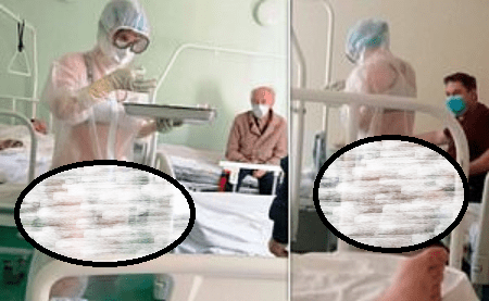 Politicians defend Nurse who wore only underwear under see-through PPE gown in male hospital ward as new image emerges