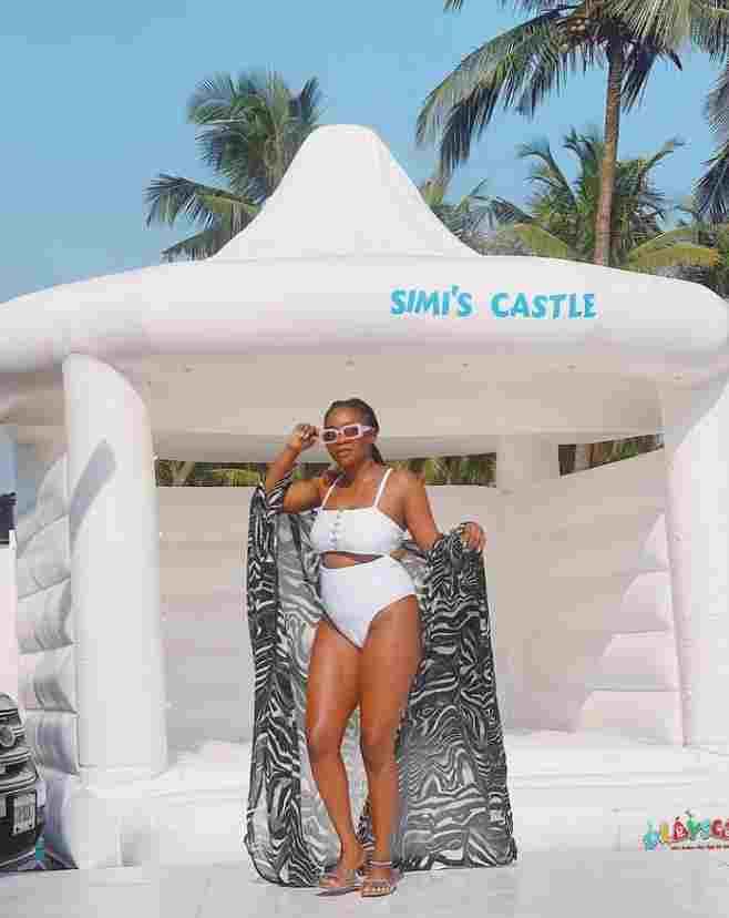 Simi shares stunning bikini photos as she parties at pool
