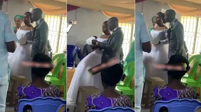 Bride refuses to kiss groom as they tie in Ibadan