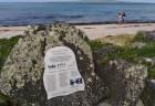 タカプナビーチ北側にある「化石の森」案内