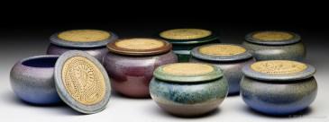 Church-keyed stoneware keepsake jars