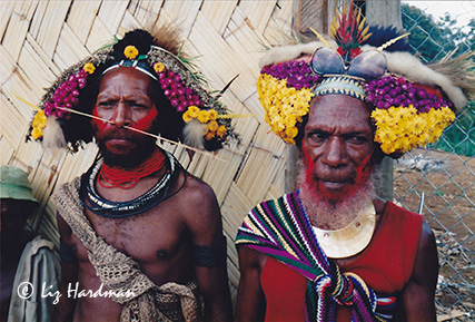 The Huli wigmen of the Tari Highlands preserve a traditional way of life in the mountain villages.