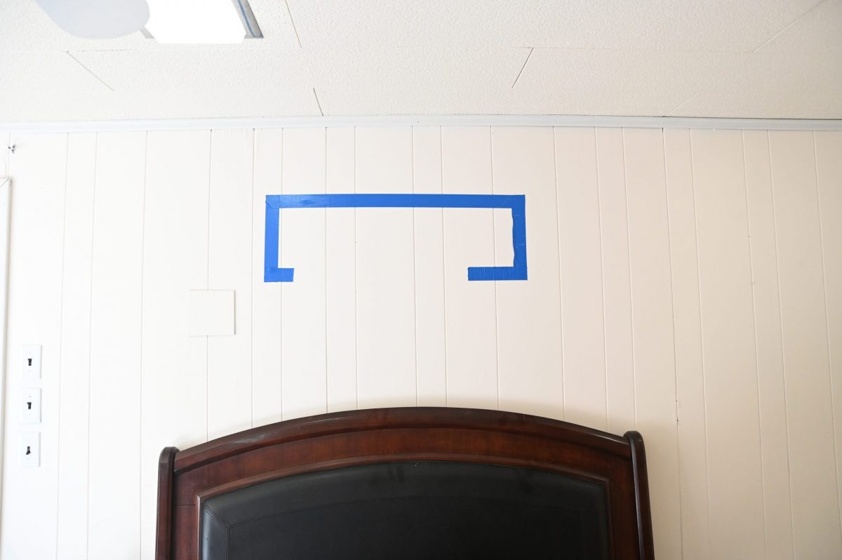 painters tape on a wall for art