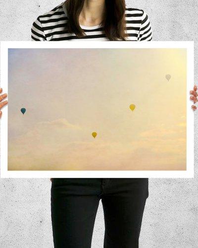 vintage hot air balloon white border print
