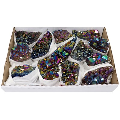 ACMR - Titanium Rainbow Amethyst Clusters Flat