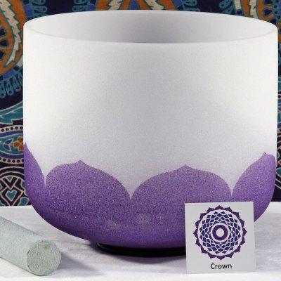 SBQCB - Frosted Quartz Crystal Singing Bowl: B Crown/Purple -TI