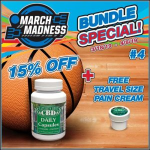Picture of Nature's Best CBD March Madness Product Bundle #4 includes 15% off a 120 Daily CBD Protein Capsules, with a bonus of a free 1/2 oz travel size CBD Pain Cream.