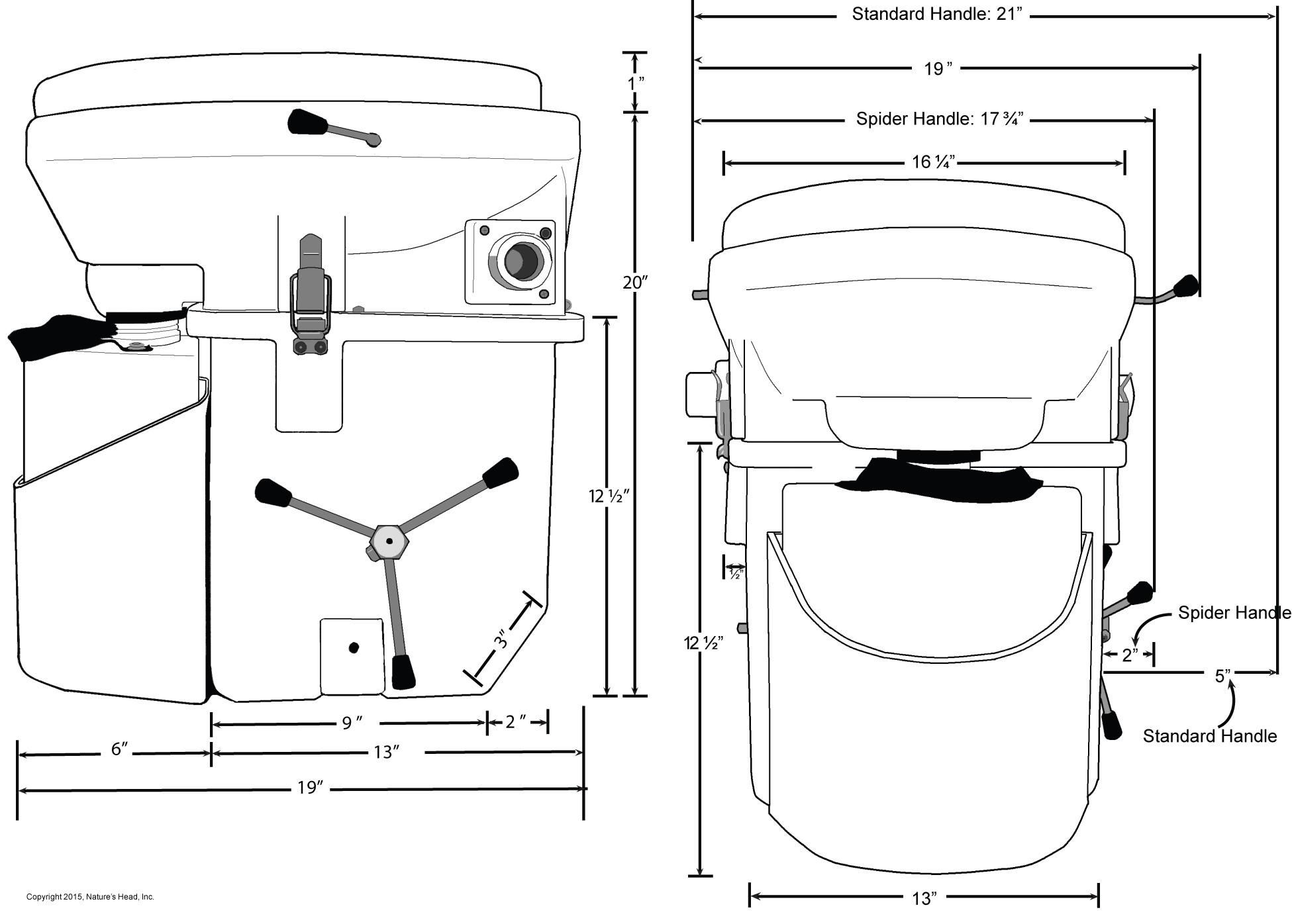 hight resolution of nature s head composting toilet dimensions inches