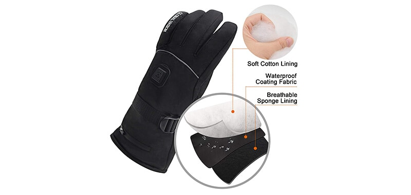 Rechargeable Battery Heated Gloves 3 Heat 7.4V by GLOBAL VASION Specifications