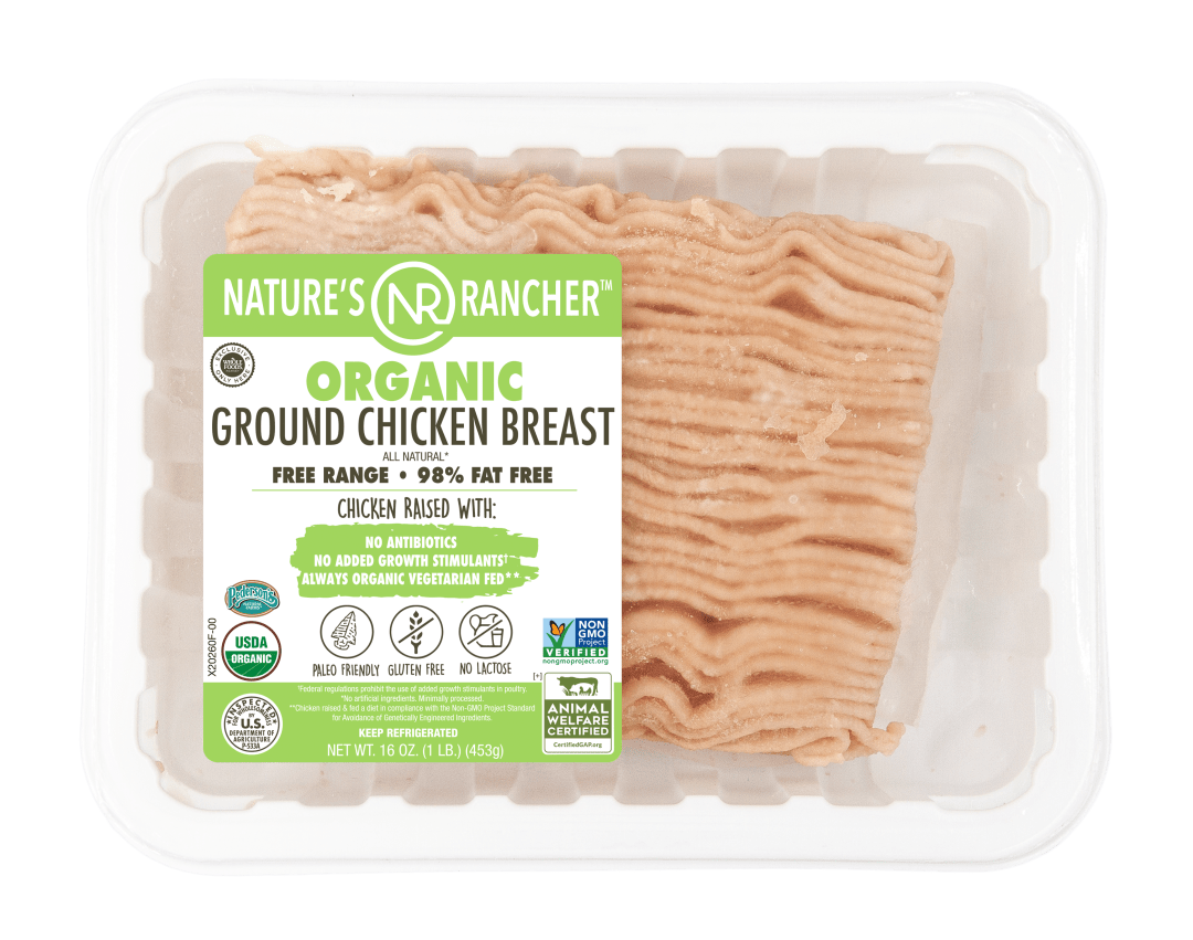 98 Fat Free Ground Organic Chicken Breast Packaged New Label