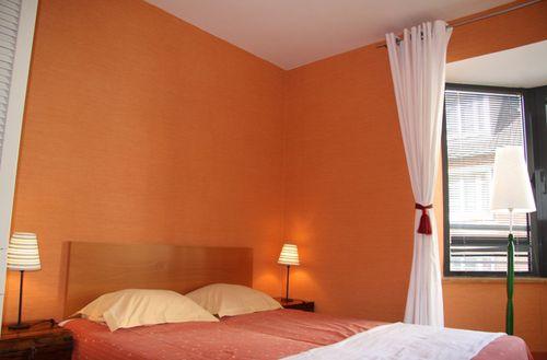 Penthouse Apartment Orange Bedroom