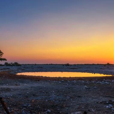 Sunset over Okaukuejo waterhole