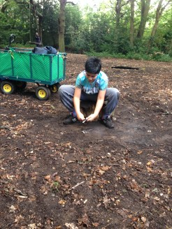 child making fire in woodland