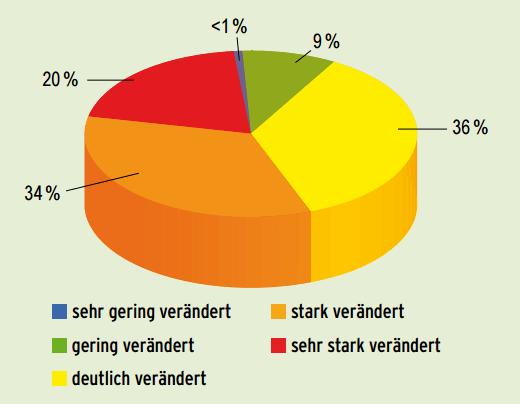 Verteilung der Bewertungsklassen für die rezenten Flussauen (Quelle: BfN).