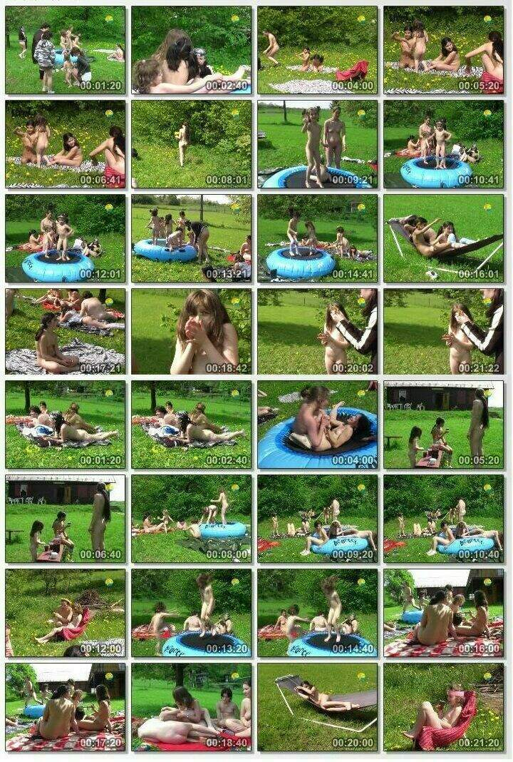 Video from the life of a nudist community - Small Trampoline