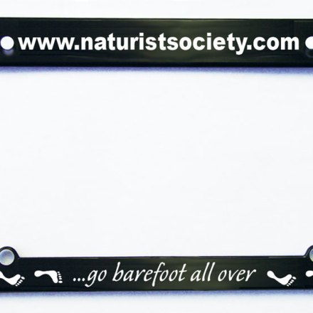Go Barefoot All Over License Plate Frame
