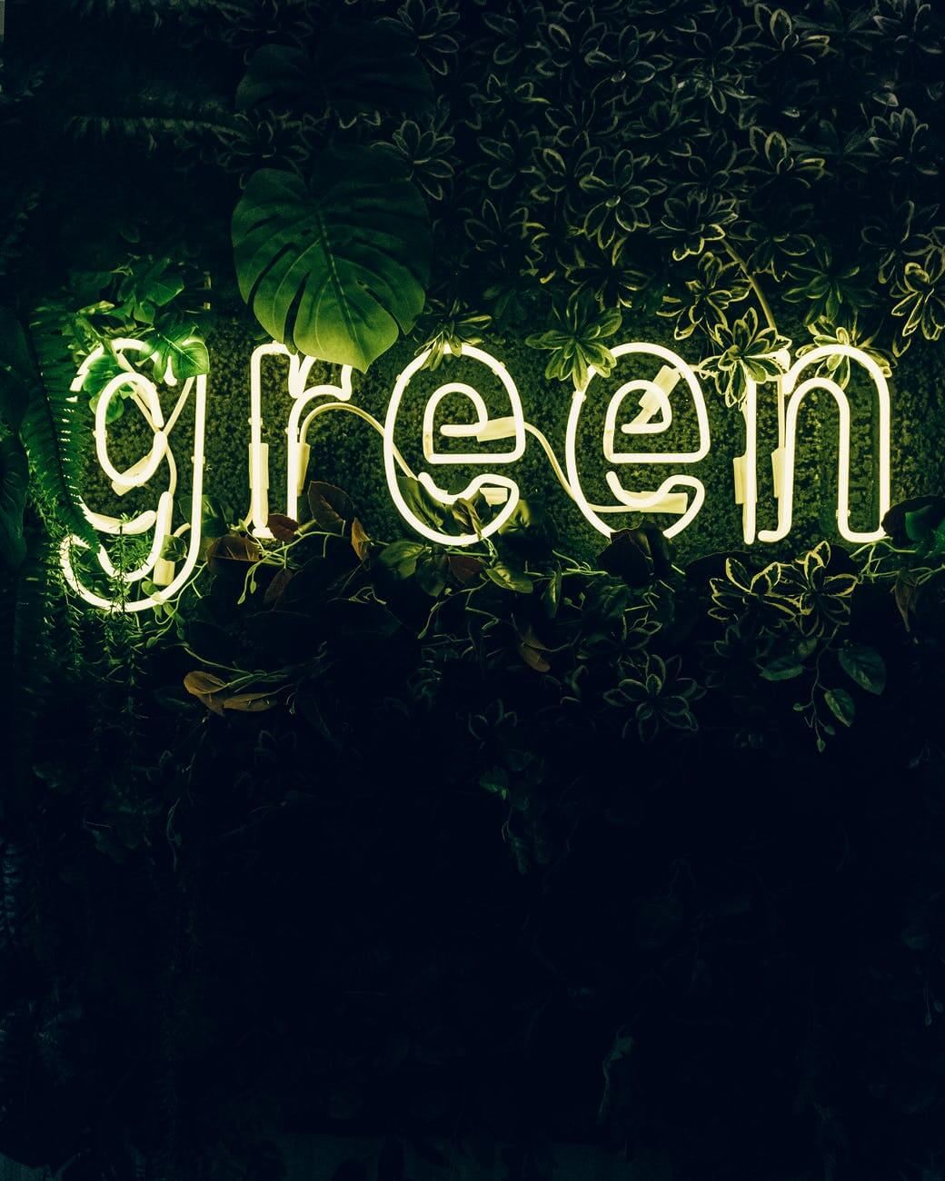 illuminated green sign